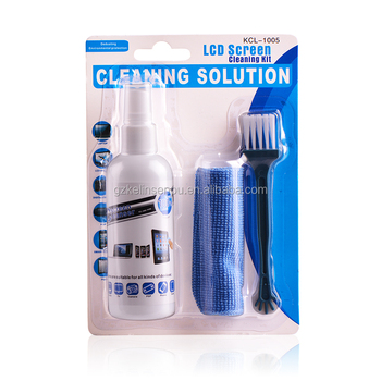 Lower price product computer LCD Screen Cleaning Kit complete with liquid solution cleaning cloth brush