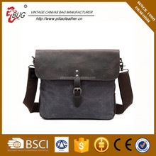 wholesale shoulder canvas bag with crazy horse leather made in china