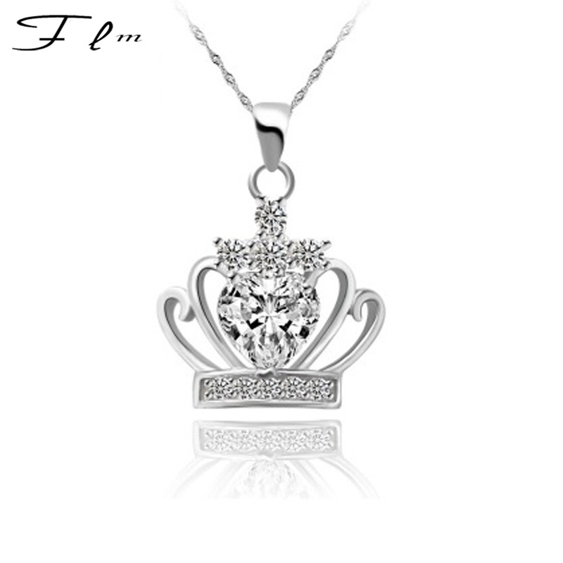 Fashion Queen Princess Crown Pendant 925 Silver Necklace