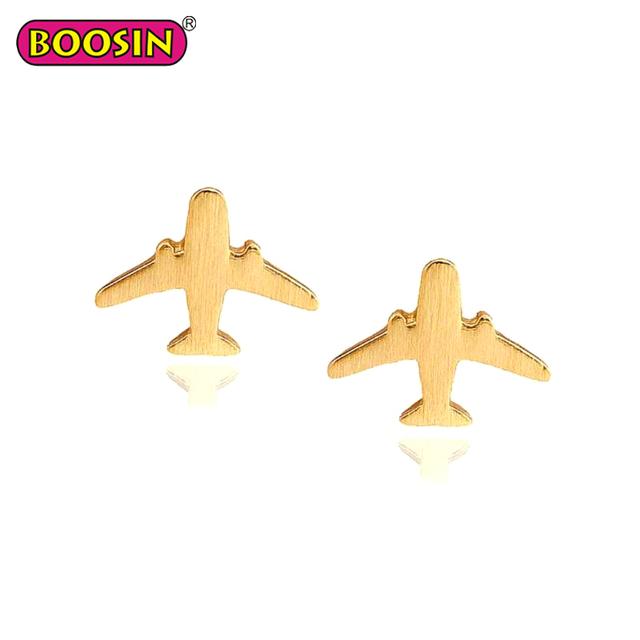 Hot sale simple design metal jewelry plane shaped stud earrings for women #D9196