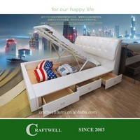 latest white soft gas lift up bed frame, wooden double bed with drawers