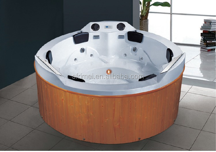 K-8992 Acrylic Round Wood fired hot tub Big Bathtub Series Outdoor Massage Spa Bath