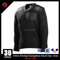 China Xinxing Guangzhou Military 50%Acrylic/ 50%Wool V-Neck Black Color Sweater Army Pullover Cardigan