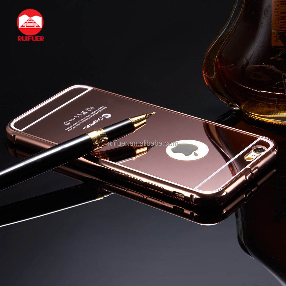 2016 Wholesale Luxury Ultraslim 2 in 1 Detachable Bumper Electroplating Aluminum Metal Mirror Phone Case for Iphone 6 Plus