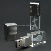 Crystal usb flash stick disk pen drive customized logo for gift or use