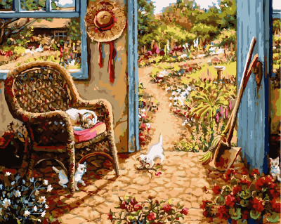 GX9913- 40*50 Artworks Printed On Canvas Garden Scenes oil painting by numbers for hotel decoration