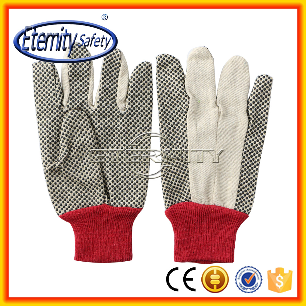 PVC dotted canvas glove