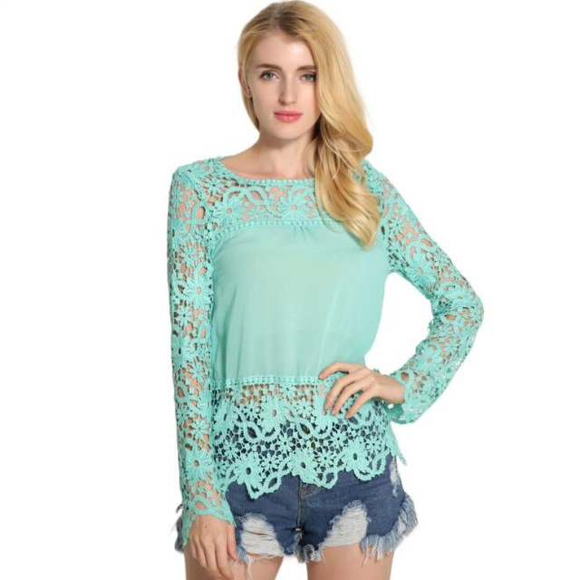 zm52827a Apparel clothing womens long sleeve women blouse lace tops for women 2016
