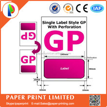 A4 invoice paper with single integrated label