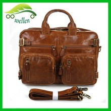 Leisure sport laptop bags mens satchel bag leather brown tote bag