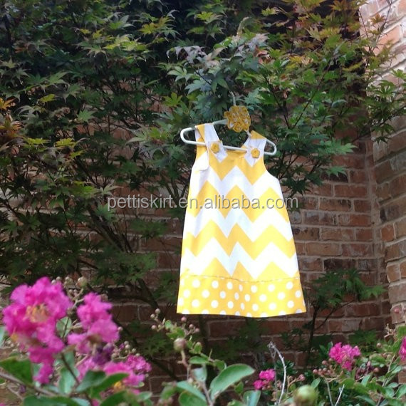 2015 Baby Girl Chevron maxi Dress New Fashion Hot yellow Ribbon Satin Child Clothes Boutique Kids Christmas Party Dress