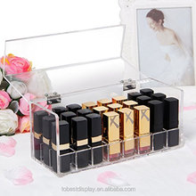 innovative clear acrylic lipstick holder,acrylic cosmetic box shenzhen factory with hinged lid