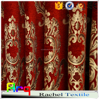 High standard red color chenille curtain fabric- heavy weight jacquard livign room/ bed room using- Middle east style