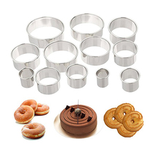 Factory Direct Stainless Steel Donut Fondant Cake Tool Round Cake Mould Mousse Circle 12 Sets Cookie Cutters Wholesale