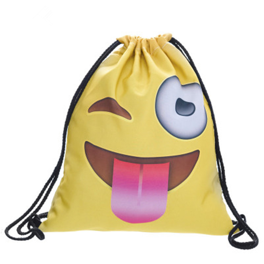 Top Quality Different Emoji Face Expression Pattern Hand Polyester Oxford Cloth String Shopping Bag