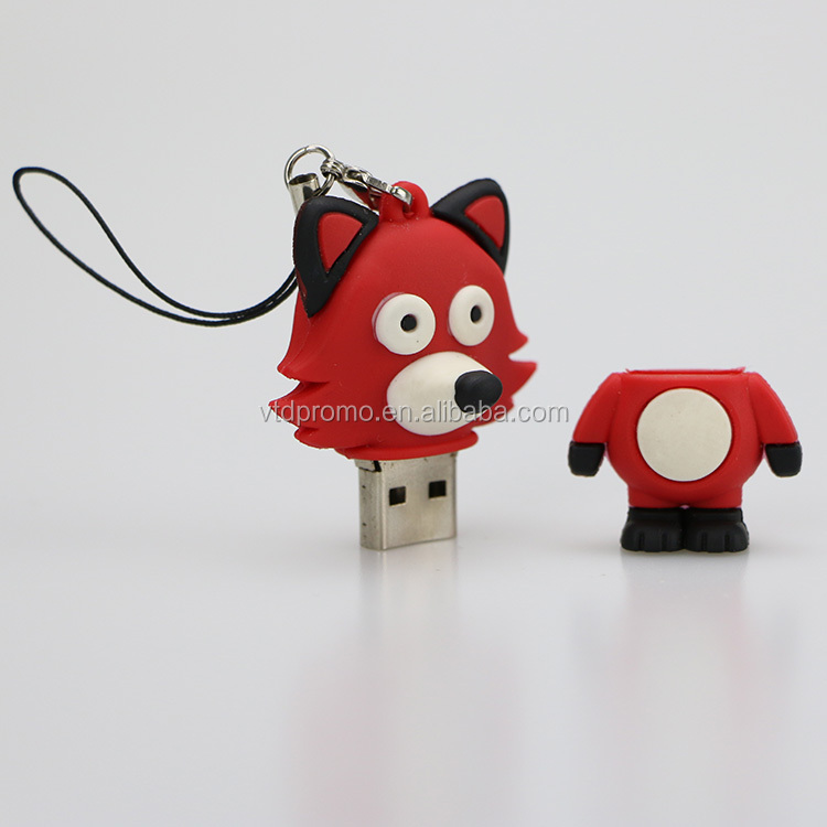 OEM Fox shape pvc usb flash drive with CE/ROSH/FCC, Cute animal usb flash drive