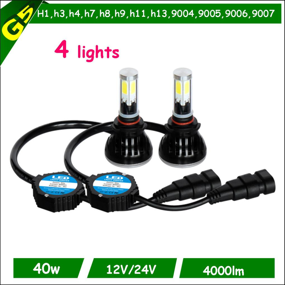 Fast start cheap price car accessoriesh4 h7 h11 9006 9006 H4 hi low car front40w led headlight car front led head light