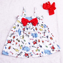 Cartoon Cat Hat Pattern Kids <strong>Girls</strong> Infants Summer Backless Party <strong>Dresses</strong>