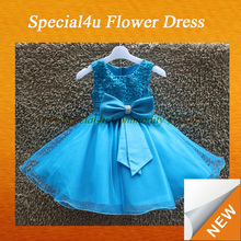 Fashion Sleeveless O-Neck Bow Ball Gown Flower Dresses for Girl kids gown designs LYD-297