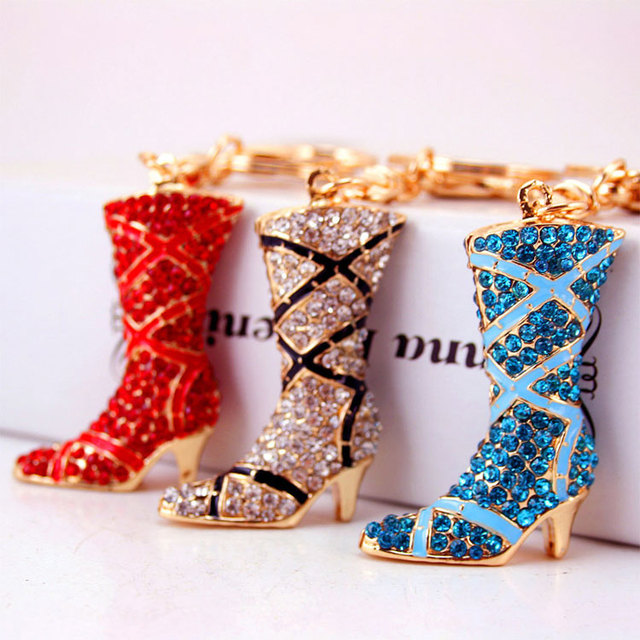 Unique gift metal rhinestone boot shoe keychain custom shoe keychains for girls