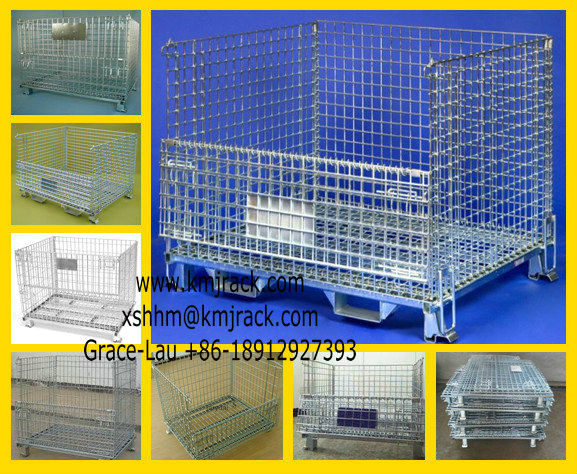 Stakable Iron Wire Cage/Mesh Container with Forklift Entrance