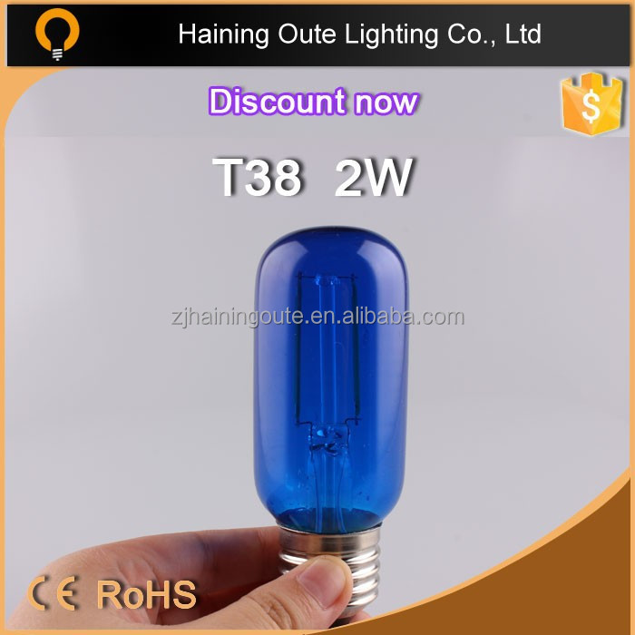 Colour glass 2W e27 led 360 degreed bulb /A19 /ST64/G80/G125 /C35/T45/T10 etc available filament lamp