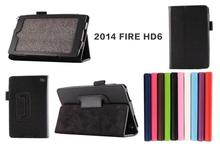 Flip Litchi Grain Leather Stand Cover Case For Amozon Kindle Fire HD 6 2014