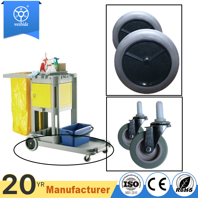 Wholesale small front / back plastic wheel only for cleaning trolley cart