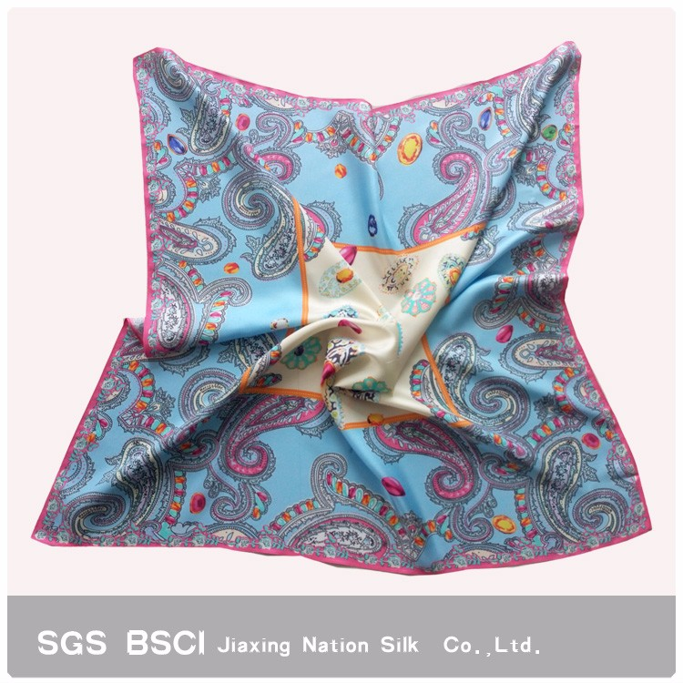 2017 Newest women pink digital printing custom design square twill silk scarf