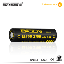 China manufacturer basen 18650 high quality rechargeable Li-ion battery 18650 3100mah 40A battery