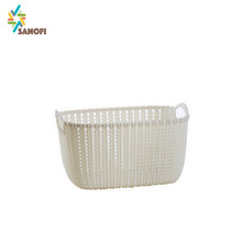 Rattan plastic multi basket storage box with handle
