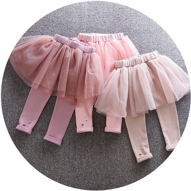 BE1788 fast shiping Kids Tutu Flower Ruffle Skirt Infant Candy Color Fleece Leggings