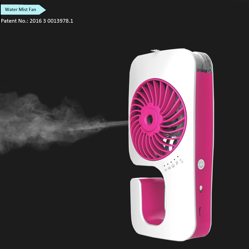 2017 Customized Logo Rechargeable Plastic Portable Water Spray Fan