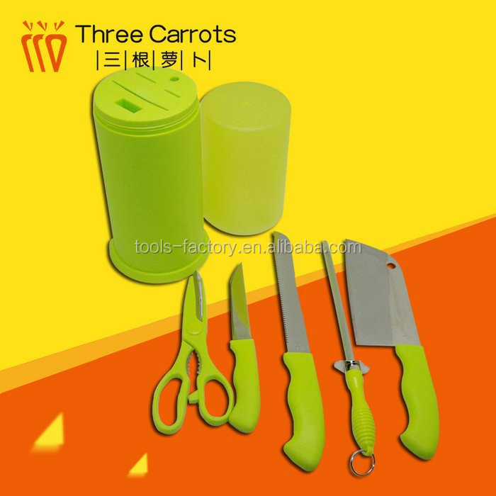 China Manufacturer Green Handle Knife Set Stainless Steel Kitchen Knife