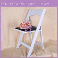 White Wooden Padded Banquet Resin Rental for Weddings Folding Dining Chairs Wholesale