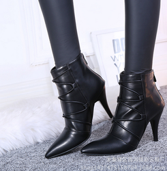 sexy point toe10cm high heel black boots