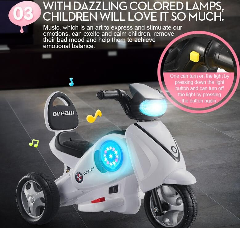 three wheel motorcycle rechargeable battery kids ride on car for wholesale