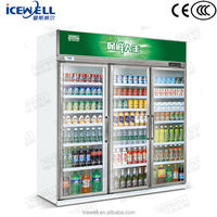 Guangdong manufacture refrigerated display upright 3 door commercial refrigerator