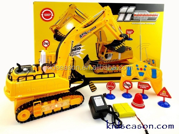 11 Ch Full Functional Excavator, Electric Rc Remote Control Construction Tractor with Music Lights Sounds and Construction Road