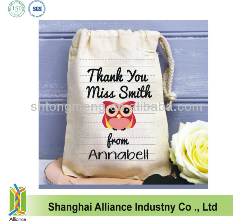 Cute Owl Imprint Small Teacher Thank You Cotton Drawstring Gift Bag