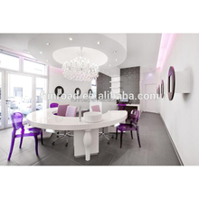 Curved Table with white marble top for Nail Bar Store