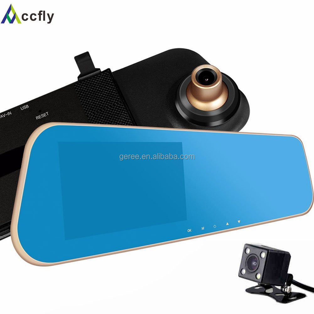 Full HD 1080P 4.3 Inch rearview mirror camera,dual camera car dvr with G-Sensor