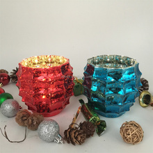 christmas decorative handmade glass mosaic candle holder