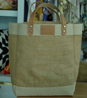 natural jute wholesale tote bags leather handle, blank jute burlap tote bag with leather handle wholesale