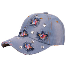 New Fashion Stylish Women Girls Embroidery Five Stars America Flag Cutting Stone Washed Denim Distressed Baseball Caps And Hats