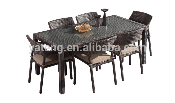 Modern design low price wicker material dining outdoor furniture garden tables and chairs