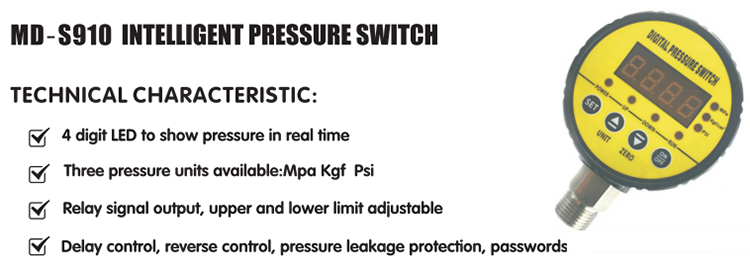 MD-S910 electric digital differential pressure control switch for water pump