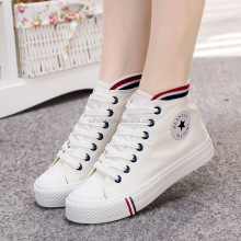 2017 Latest design fashion White canvas high cut woman casual shoes