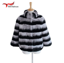 New Rabbit Fashion Rex Collar Coat With Long Sleeve Thick Warm Fur Winter Women Real Chinchilla Fur Coat Women's Jacket a # 19