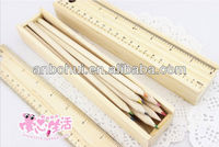 drawing natural wood color pencil &rubber in wooden box /natural wood color pencil for oem